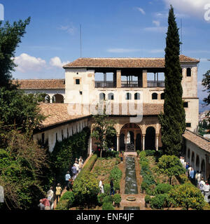 The Generalife summer palace and gardens beside the Alhambra in Granada, Granada Province, Andalusia, southern Spain. - Stock Photo