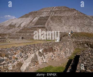 Teotihuacan, Mexico.  Pyramid of the Sun.  Pre-Hispanic City of Teotihuacan is a UNESCO World Heritage Site. - Stock Photo