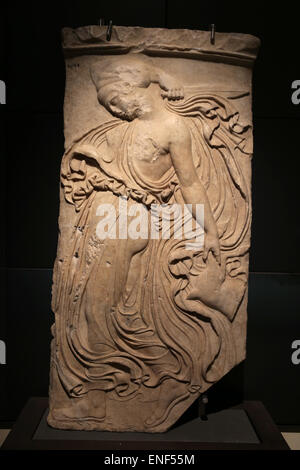 Relief with dancing maenad. Marble. Roman copy. From Piazza Vittorio Emanuele. Rome. Capitoline museums. Rome. Italy. - Stock Photo