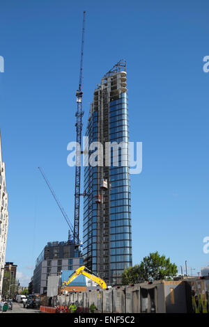The Lexicon high rise luxury apartment tower nearing completion on 261 City Road  in Islington, London EC1V UK  - Stock Photo