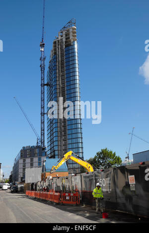 The Lexicon high rise luxury apartment tower nearing completion at 261 City Road  in Islington, London EC1V UK  - Stock Photo