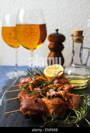 Fresh meat with spices, rosemary and wine