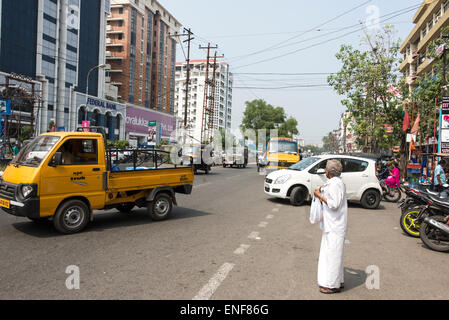 One of the many heavy traffic congested streets in Ernakulam  Kerala, India - Stock Photo
