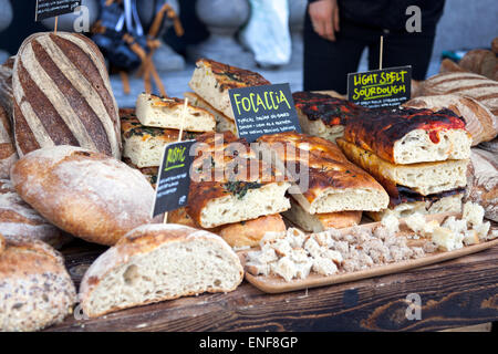 Artisan bread stall in Holborn, London (Rosewood Hotel's Slow Food Market) - Stock Photo