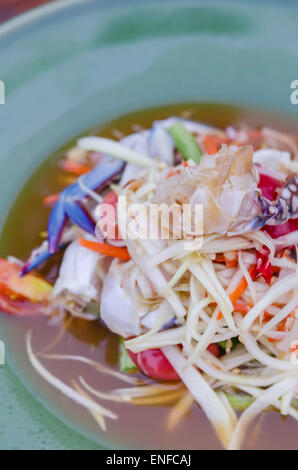 Famous Thai style food, spicy papaya salad - Stock Photo