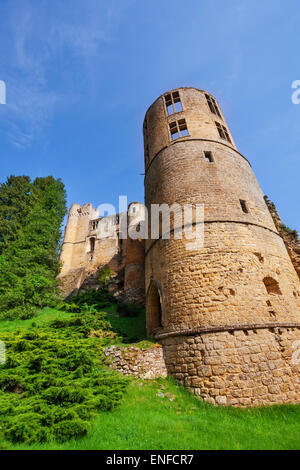 Tower of Beaufort castle in Luxembourg - Stock Photo
