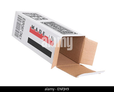 Concept of export, opened paper box - Product of Yemen - Stock Photo