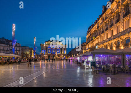 Place de la Comedie in the evening, Montpellier, France - Stock Photo