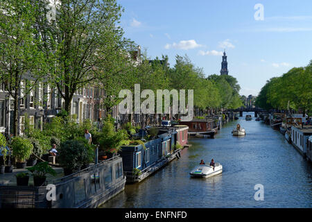 On the Prinsengracht with the Westerkerk, historic centre along the canals, Amsterdam, The Netherlands - Stock Photo