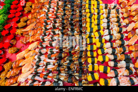 Various colourful sorts of Sushi, Thailand - Stock Photo