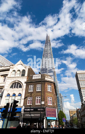The Shard, EU's tallest skyscraper, London SE1, with reflections of blue sky and white clouds, viewed from Borough - Stock Photo