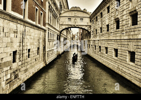 a view of the Bridge of Sighs in Venice, Italy - Stock Photo