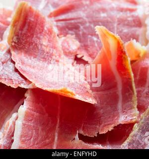 closeup of spanish serrano ham tapas - Stock Photo