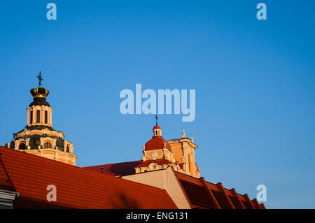Roofs of historical buildings in old town of Vilnius, Lithuania, Europe - Stock Photo