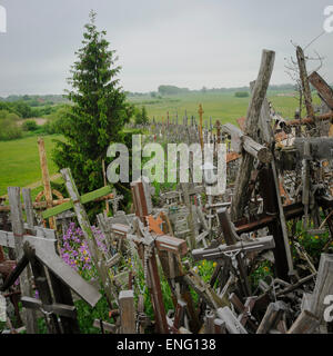 The hill of the Crosses in Lithuania, one of the most important pilgrimage sights of the region - Stock Photo