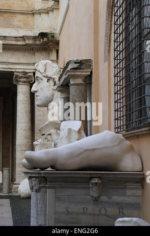 Roman Emperor Constantine I (272-337 AD). Colossal statue at the Capitoline Museums. 4th century. Rome. Italy. - Stock Photo