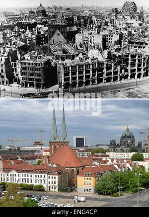 Berlin, Germany. 5th May, 2015. The upper aerial image shows the ruins of the Nikolaiviertel with the Saint Nicholas - Stock Photo