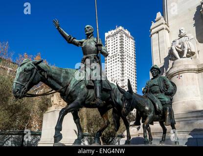 Don Quixote and Sancho Panza. Servantes monument at Plaza de España in Madrid, Spain - Stock Photo