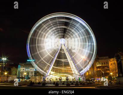 Big ferris wheel in central Manchester, United Kingdom - Stock Photo