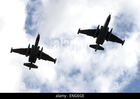 Moscow, Russia. 5th May, 2015. Jet air supporters Sukhoi Su-25 fly during the miliary parade rehearsal in Kubinka, - Stock Photo