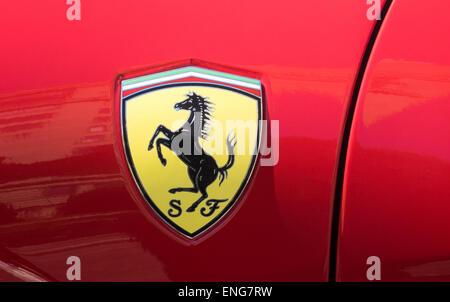 Red Ferrari with horse logo - Stock Photo