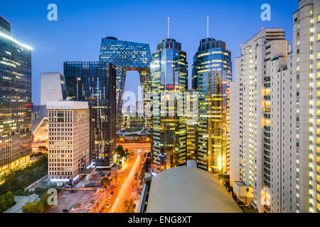Beijing, China Central Business District cityscape. - Stock Photo