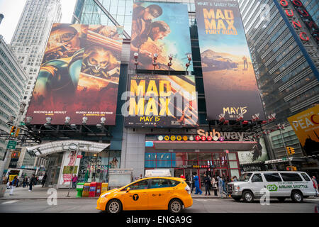 A billboard in Times Square on Friday, May 1, 2015 promotes the soon to be released film 'Mad Max: Fury Road'. The - Stock Photo