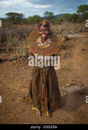 A Pokot Woman Wears Large Necklaces Made From The Stems Of Sedge Grass, Baringo County, Baringo, Kenya - Stock Photo