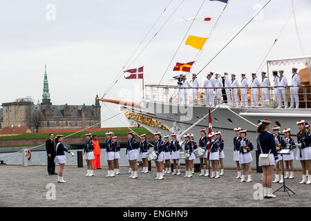 Helsingore, Denmark. 5th May, 2015. The royal ship, Dannebrog, arrives with H.M. Queen Margrethe and Prince Consort - Stock Photo