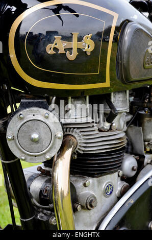 Close up view of petrol tank and engine of a classic AJS motorcycle from the 1950s. Probably a Model 31. - Stock Photo