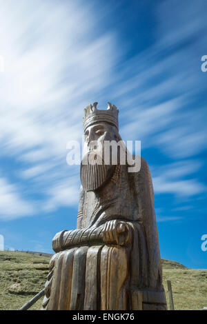Chessman of Uig with clouds rushing by - Stock Photo