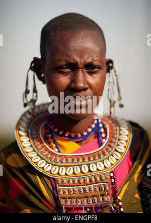 Maasai Tribeswoman In Traditional Maasai Clothing, Nakuru County, Nakuru, Kenya - Stock Photo