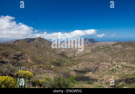 Gran Canaria, Barranco de Soria, aerial view - Stock Photo