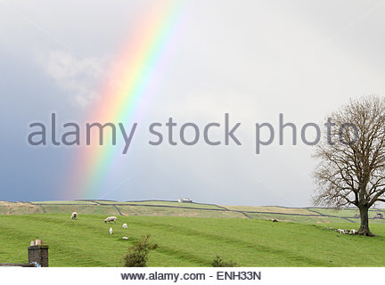 Holwick, Middleton-in-Teesdale, Co Durham, UK. 5th May 2015. UK Weather:  After a wet and windy day the evening - Stock Photo