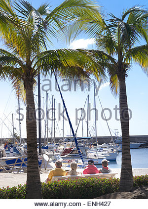 Group of elderly pensioner holidaymakers sitting on bench framed by palm trees enjoying marina view Puerto Calero - Stock Photo