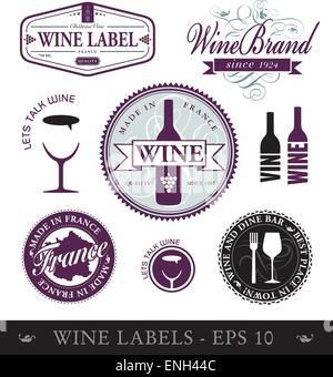Vector wine labels - Stock Photo