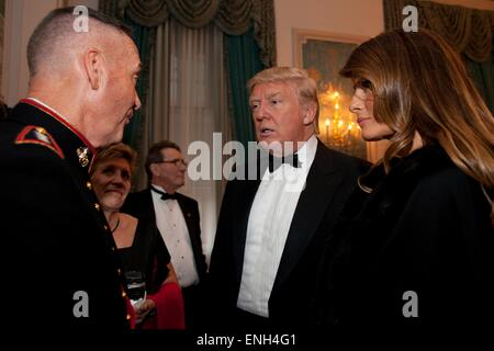 U.S. Marine Corps Gen. Joseph F. Dunford, Jr. chats with Donald Trump during the 20th Annual Semper Fidelis Gala - Stock Photo