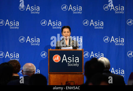 New York, USA. 4th May, 2015. Cui Yuying, deputy director of the State Council Information Office of China, delivers - Stock Photo