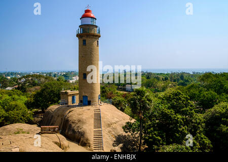 Mahabalipuram lighthouse. The group of monuments are on UNESCO world heritage site list. - Stock Photo