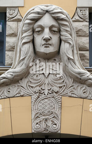 Front side of an Art Nouveau building in Riga,Latvia,Europe - Stock Photo