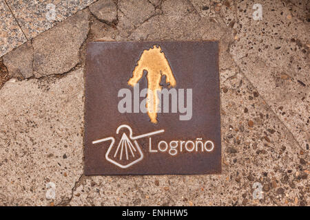 Pavement sign for the Camino de Santiago, or Pilgrims Way, which passes through the city of Logrono, La Rioja, Spain. - Stock Photo