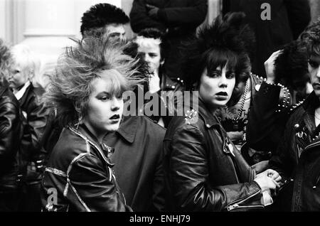 Punk rockers march in London. 3rd February 1980. - Stock Photo