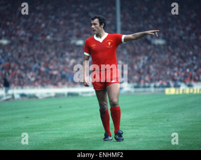 Liverpool footballer Ray Kennedy gives instructions during the Charity Shield match against Manchester United at - Stock Photo