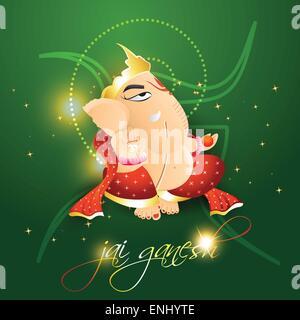 lord ganesh on beautiful green background - Stock Photo