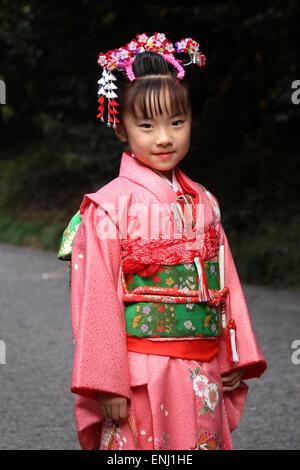 Japanese Child wearing a kimono in Tokyo Japan - Stock Photo