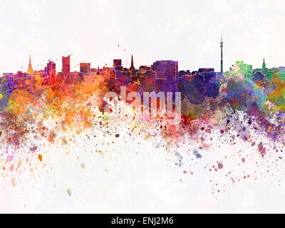 Dortmund skyline in watercolor - Stock Photo