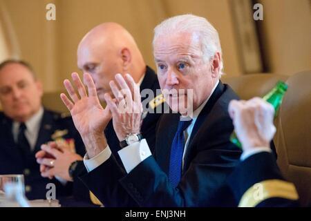 Washington, DC, USA. 05th May, 2015. Vice President Joe Biden speaks to senior military leaders from the U.S. and - Stock Photo