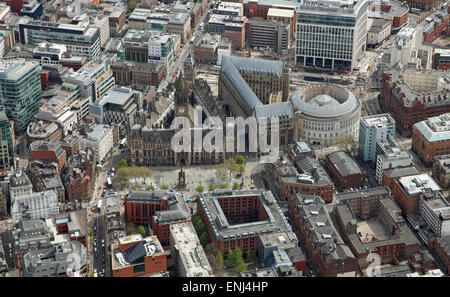 aerial view of Manchester Town Hall and city centre, UK - Stock Photo