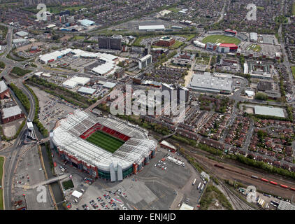 aerial view of Manchester United Old Trafford football ground and Lancashire County Cricket Club Stadium in the - Stock Photo