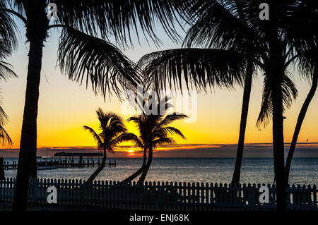Sunrise over the fishing pier at The Cheeca Lodge & Spa resort. Islamorada. Florida Keys. USA - Stock Photo